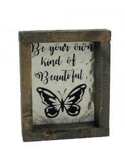 rustic framed metal butterfly picture