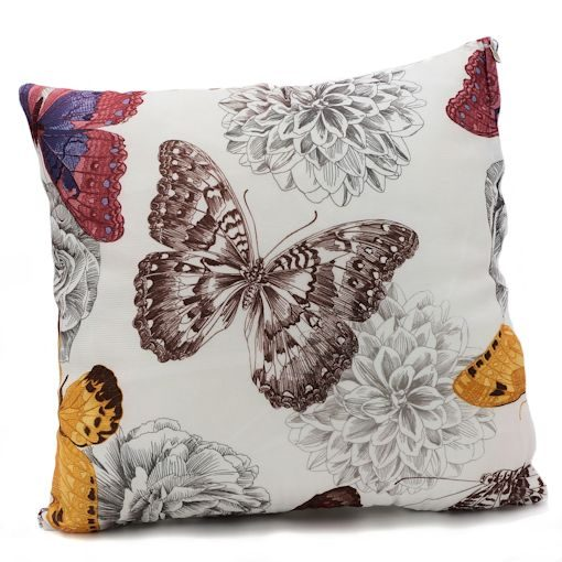 Earthen Butterfly throw pillow with fall colors
