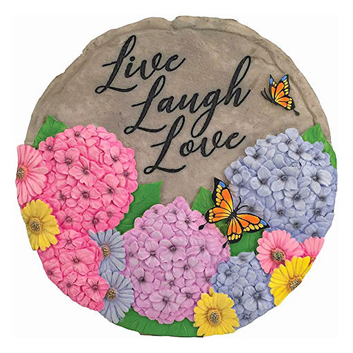 garden flowers and butterfly stepping stone