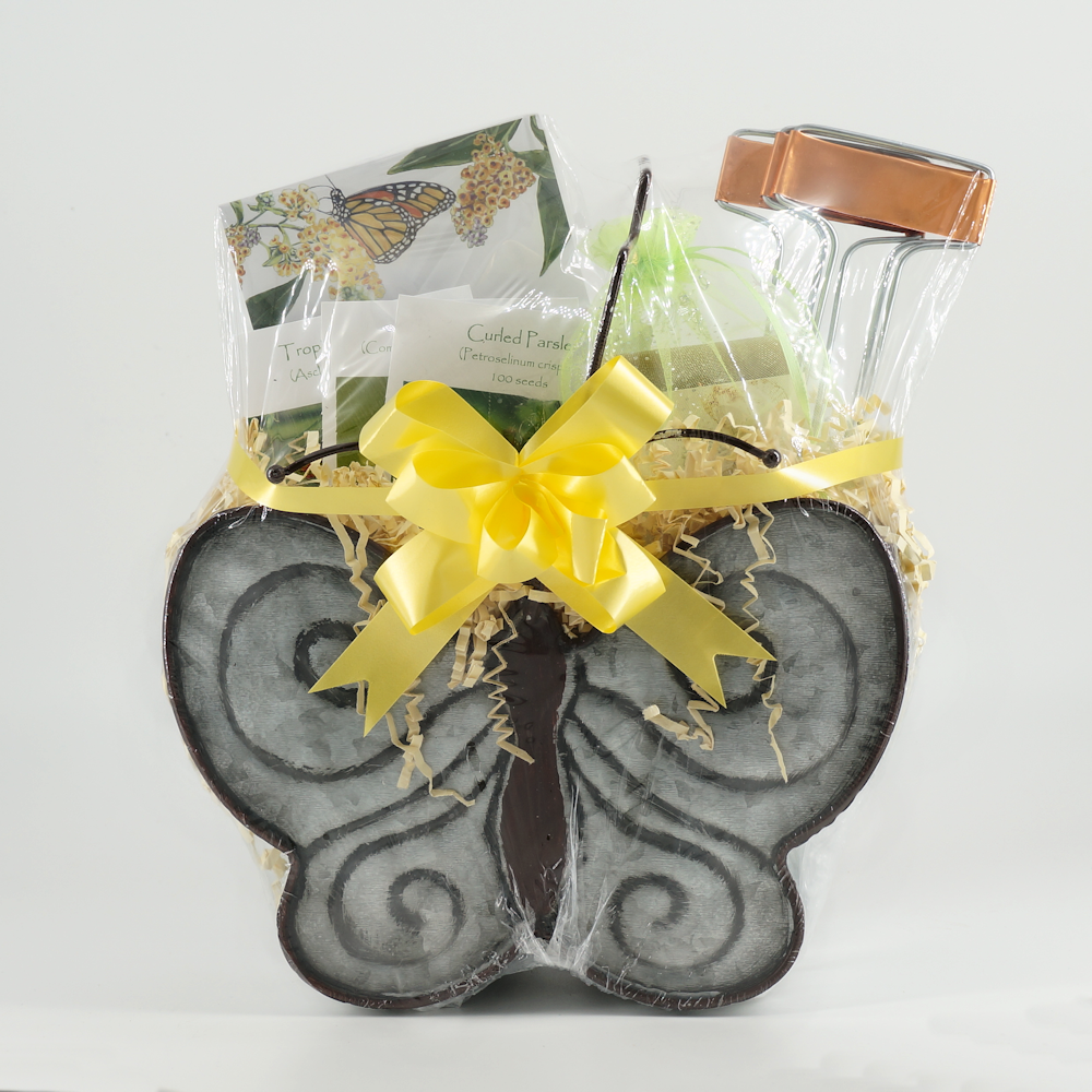 Butterfly garden gift basket wrapped